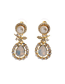 Fashion Gold Color+white Oval Shape Gemstone Decorated Simple Earrings
