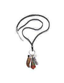 Bohemia Multi-color Metal Feather Pendant Decorated Long Chain Necklace