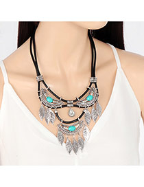 Bohemia Silver Color Gemstone Decorated Tassel Shape Design Double Layer Necklace
