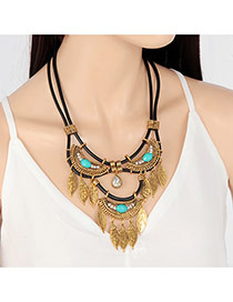Bohemia Gold Color Gemstone Decorated Tassel Shape Design Double Layer Necklace