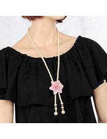 Elegant Pink Flower&tassle Pendant Decorated Long Chain Necklace
