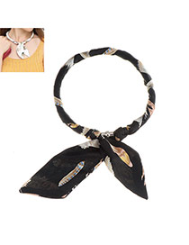 Sweet Black Feather Pattern Decorated Bowknot Shape Multi-function Scarf