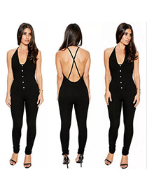Fashion Black Pure Color Decorated V-neckline Backless Simple Jumpsuit