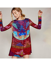 Casual Multi-color Color Matching Decorated Long Sleeve Smock