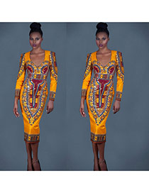 Bohemia Yellow Printing Flower Pattern Decorated Long Sleeve Dress