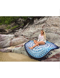 Fashion Blue Geometric Flowe Pattern Decorated Tassel Yoga Mat&shawl