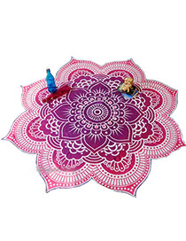 Fashion Purple Flower Pattern Decorated Regular Shape Yoga Mat&shawl