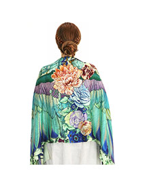Fashion Green Big Flower&wing Shape Pattern Decorated Simple Shawl