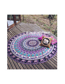 Fashion Purple Geometric Flowe Pattern Decorated Round Shape Shawl