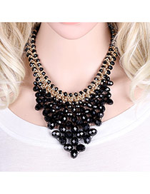 Elegant Black Oval Shape Gemstone Weaving Decorated Short Chain Necklace