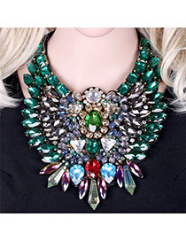 Luxury Green Geometric Diamond Weaving Decorated Short Chain Necklace