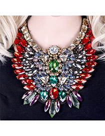 Luxury Red Geometric Diamond Weaving Decorated Short Chain Necklace