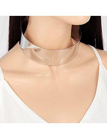 Exaggerated Silver Color Pure Color Decorated Simple Design Choker