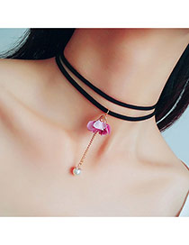 Sweet Pink Flower&pearl Pendant Decorated Double Layer Choker