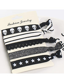 Sweet Multi-color Skull&star Pattern Decorated Knot Hair Band(5pcs)