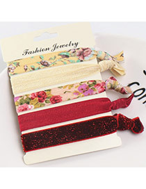 Sweet Multi-color Flower&butterfly Pattern Decorated Knot Hair Band (5pcs)