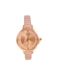 Fashion Pink Iron Tower Pattern Decorated Round Shape Dial Plate Watch