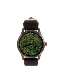 Elegant Green Round Shape Dial Plate Design Pure Color Strap Watch