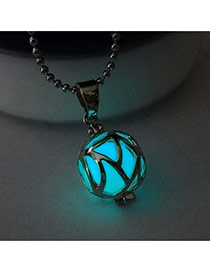 Fashion Light Blue Hollow Out Ball Shape Pendant Decorated Simple Necklace