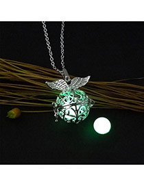 Fashion Green Hollow Out Round Shape Pendant Decorated Necklace