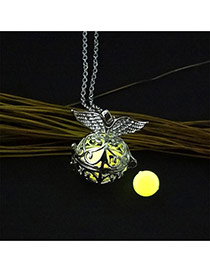 Fashion Yellow Hollow Out Round Shape Pendant Decorated Necklace
