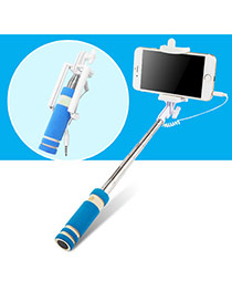 Lovely Blue Sponge Decorated Color Matching Mini Selfie Stick