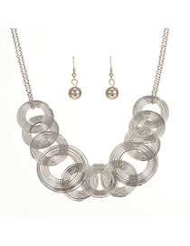 Elegant Silver Color Spiral Weaving Pendant Decorated Simple Jewelry Sets