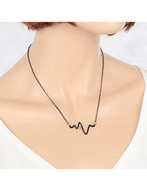 Vintage Black Arc-shaped Pendant Decorated Simple Necklace