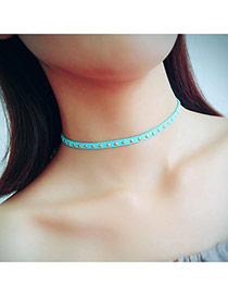 Vintage Green Rivet Shape Decorated Simple Pure Color Choker