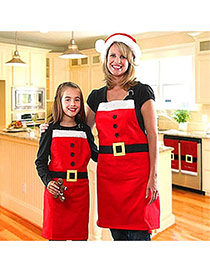 Lovely Red Square Shape Hasp Decorated Color Matching Simple Apron