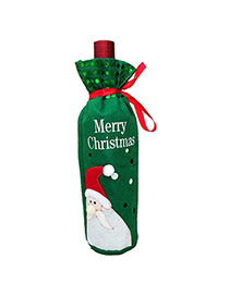 Lovely Green Father Christmas Pattern Decorated Simple Wine Bottle Bag