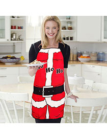 Lovely Red Letter Pattern Decorated Color Matching Simple Apron