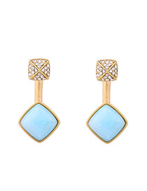 Personalized Antique Gold Square Shape Gemstone Decorated Simple Earrings