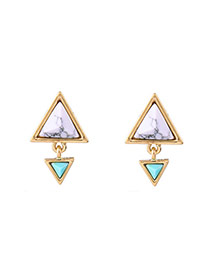 Fashion Gold Color Doule Triangle Shape Diamond Decorated Simple Earrings