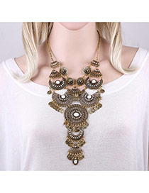 Exaggerated Antique Gold Coins Pendant Decorated Hollow Out Flower Shape Necklace