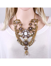 Exaggerated Antique Gold Water Drop Shape Pendant Decorated Symmetrical Design Necklace