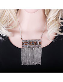 Exaggerated Silver Color Long Tassel Pendant Decorated Square Shape Design Simple Necklace