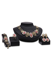 Fashion Gold Color Oval Shape Diamond Decorated Hollow Out Design Jewelry Sets