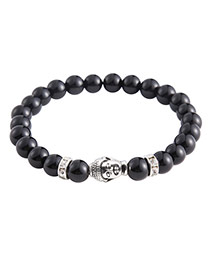 Fashion Black Figure Of Buddha Decorated Simple Pure Color Beads Bracelet