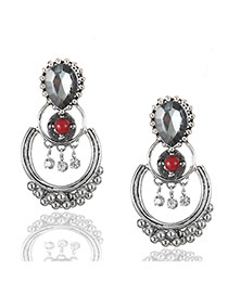 Fashion Red Round Ball&diamond Pendant Decorated Simple Earrings