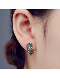 Fashion Blue Pineapple Shape Design Simple Earrings