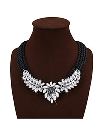 Bohemia Black+gray Water Shape Diamond Decorated Simple Hand-woven Jewelry Sets