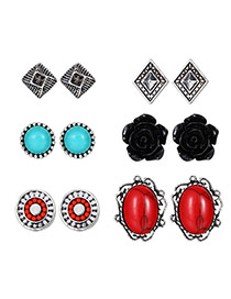 Vintage Antique Silver +red Round Shape Gemstone Decorated Flower Shape Earrings (6pcs)