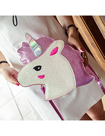 Fashion Pink Unicorn Shape Design Color Matching Shoulder Bag