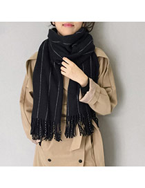 Fashion Black Imaginary Line Pattern Decorated Tassel Design Simple Scarf