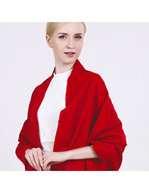 Fashion Red Tassel Decorated Pure Color Design Simple Scarf