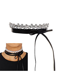 Fashion Silver Color Water Drop Diamond Decorated Tether Shape Choker