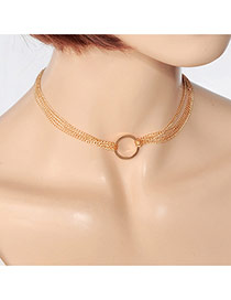 Fashion Gold Color Hollow Out Round Shape Decorated Double Layer Pure Color Choker