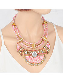 Sweet Gold Color+pink Round Shape Gemstone Decorated Flower Design Necklage