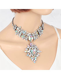 Fashion Multi-color Watershape Shape Diamond Decorated Short Chain Necklace